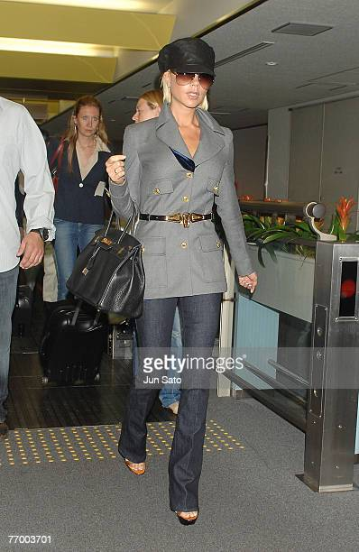 Victoria Beckham arrives at Narita International Airport ahead of promoting her cosmetics range on September 25 2007 in Japan