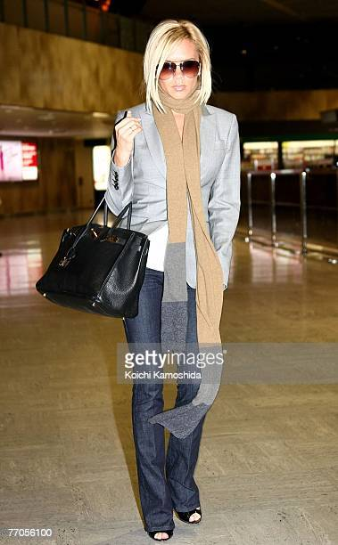 Victoria Beckham arrives at New Tokyo International Airport on September 27 2007 in Narita Japan She is on her way back to London following Ted...