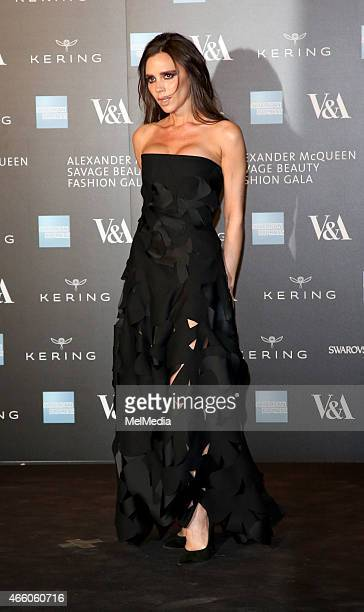 Victoria Beckham arrives at the Alexander McQueen Savage Beauty Fashion Gala at the VA presented by American Express and Kering on March 12 2015 in...