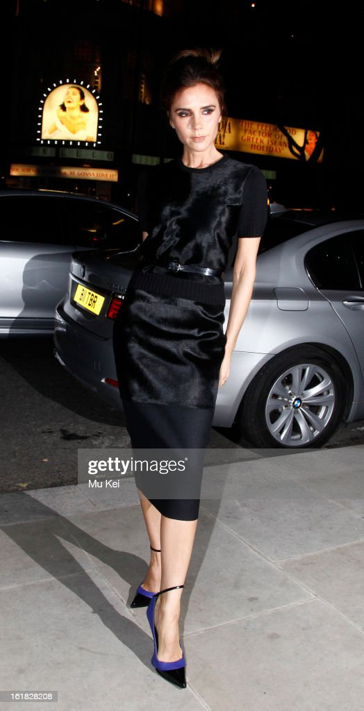 Victoria Beckham arrives at Woolmark Prize Final at ME Hotel during London Fashion Week on February 16, 2013 in London, England.