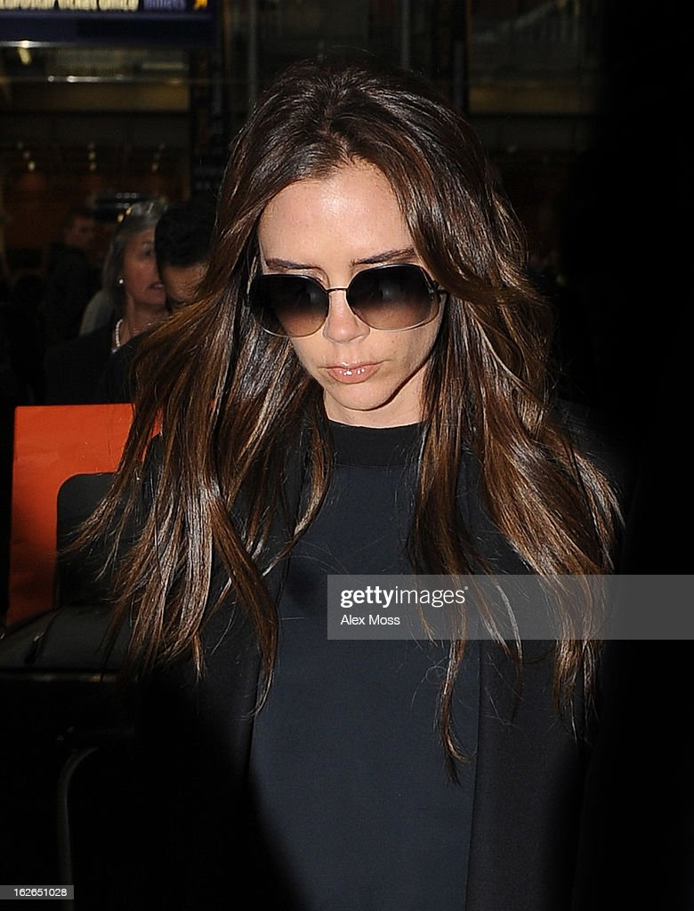 Victoria Beckham arrives back in London from Paris on February 25, 2013 in London, England.