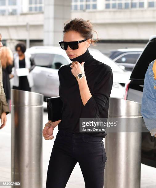 Victoria Beckham arrives to JFK International Airport for a departing flight on October 13 2017 in New York City