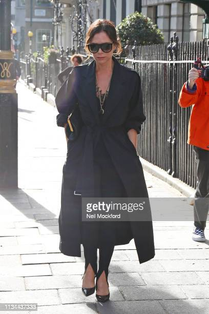 Victoria Beckham arriving at International Women's Day Breakfast at Annabel's on March 08, 2019 in London, England.