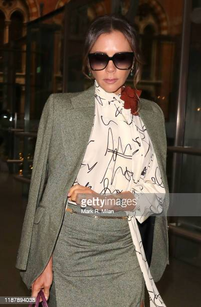 Victoria Beckham arriving back in London St Pancras station after a day in Paris on November 15 2019 in London England