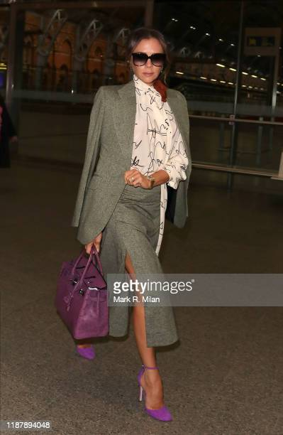 Victoria Beckham arriving back in London St Pancras station after a day in Paris on November 15, 2019 in London, England.