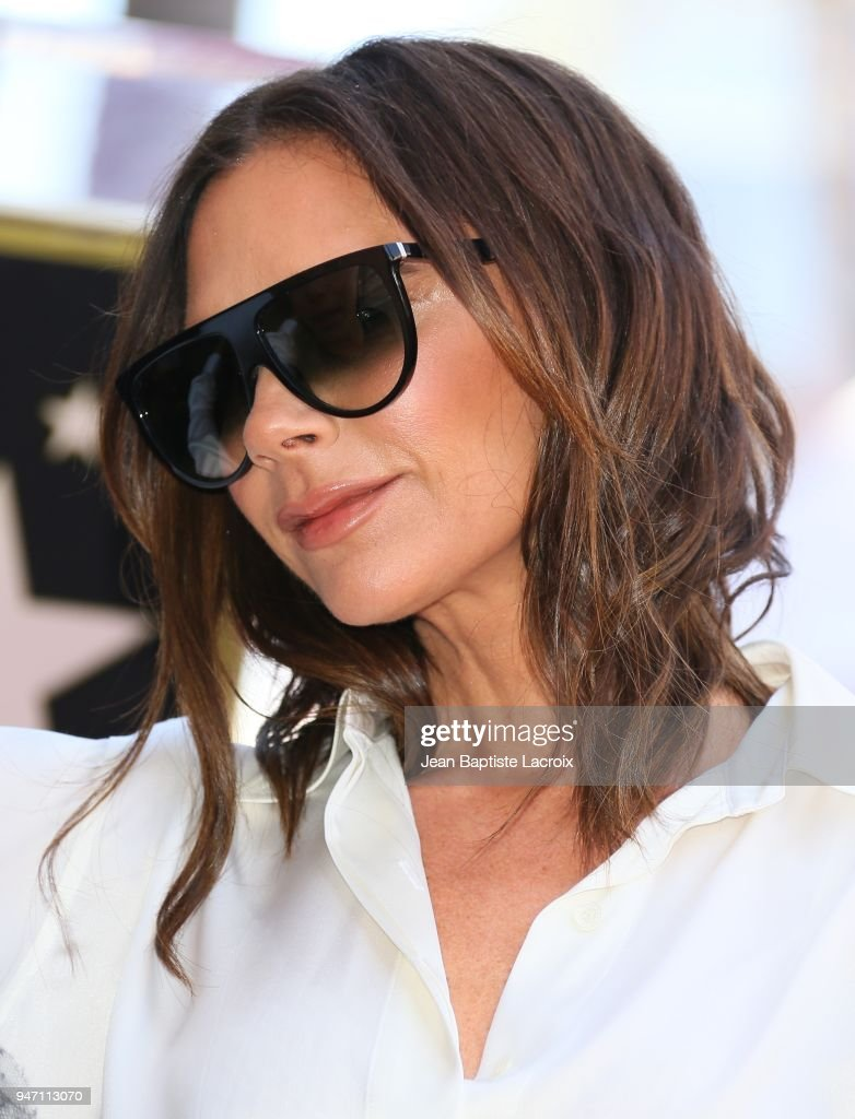 Victoria Beckham attends a ceremony honoring Eva Longoria with a star on the Hollywood Walk of Fame on April 16, 2018 in Hollywood, California.