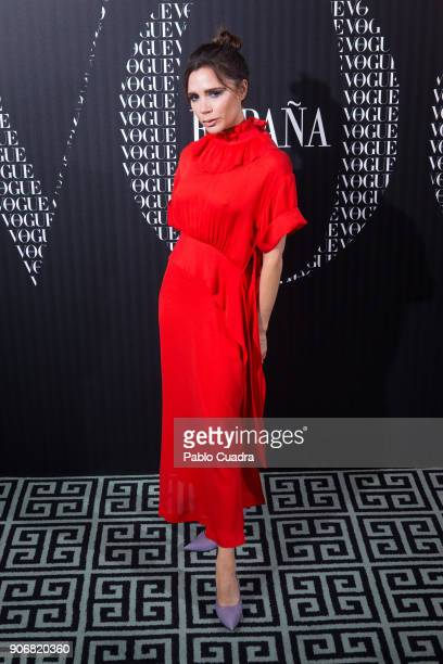 Victoria Beckham attends a dinner hosted by Vogue to celebrate the February issue of Vogue Magazine at Santo Mauro Hotel on January 18 2018 in Madrid...