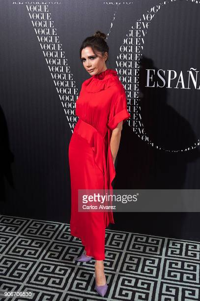 Victoria Beckham attends a dinner in her honor organized by Vogue at the Santo Mauro Hotel on January 18 2018 in Madrid Spain