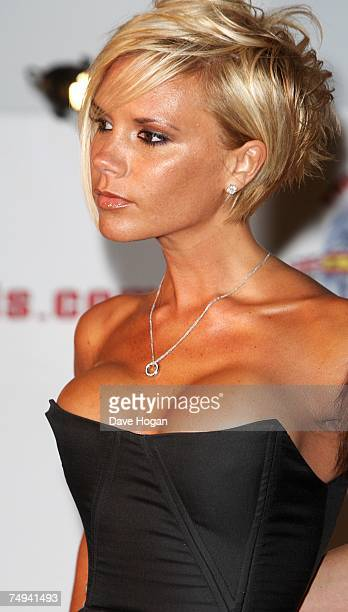 Victoria Beckham attends a press conference to announce the Spice Girls' forthcoming world tour at the O2 Arena Greenwich on June 28 2007 in London...