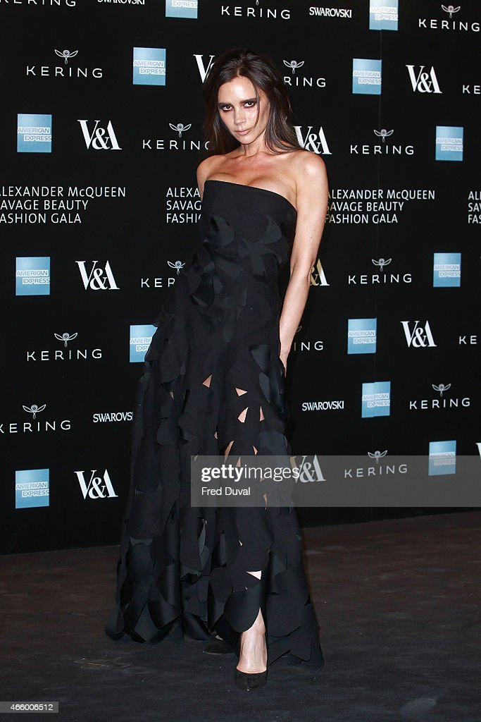 Victoria Beckham attends a private view for the 'Alexander McQueen: Savage Beauty' exhibition at Victoria & Albert Museum on March 12, 2015 in London, England.