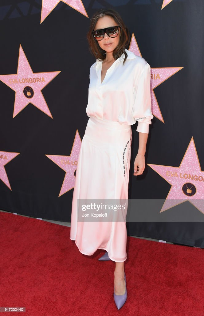 Victoria Beckham attends Eva Longoria's Hollywood Star Ceremony Post-Luncheon on April 16, 2018 in Beverly Hills, California.