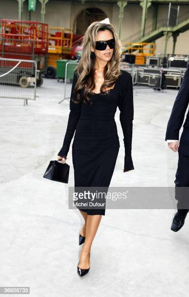 Victoria Beckham attends the Chanel fashion show during Paris Fashion Week Spring/Summer 2006 on January 24, 2006 in Paris, France.