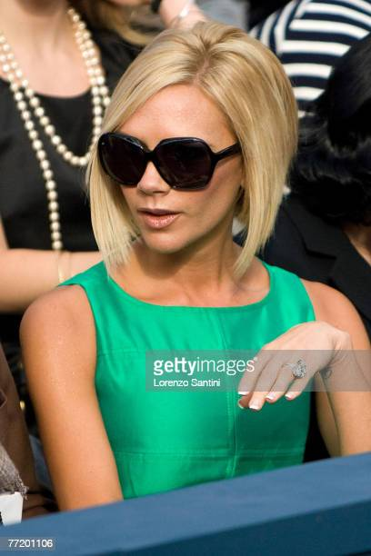 Victoria Beckham attends the Chanel PFW Spring Summer 2008 show at Paris Fashion Week 2007 at the Grand Palais of Paris on October 5 2007 in Paris...
