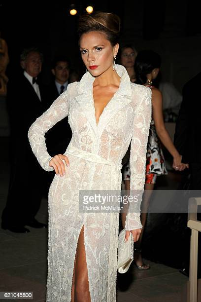 Victoria Beckham attends THE COSTUME INSTITUTE GALA SUPERHEROES with honorary chair GIORGIO ARMANI at The Metropolitan Museum of Art on May 5 2008 in...