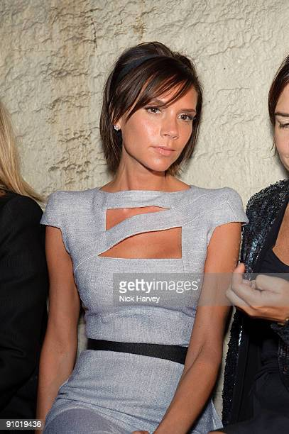 Victoria Beckham attends the Fashion East show at London Fashion Week Spring/Summer 2010 at Somerset House on September 22 2009 in London England
