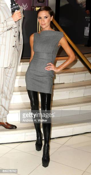 Victoria Beckham attends the launch of the Beckham Signature fragrance collection at Macy's at Herald Square on September 26 2008 in New York City