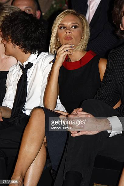 Victoria Beckham attends the Louis Vuitton fashion show, during the Spring/Summer 2008 ready-to-wear collection show at Cour carree du Louvre on...