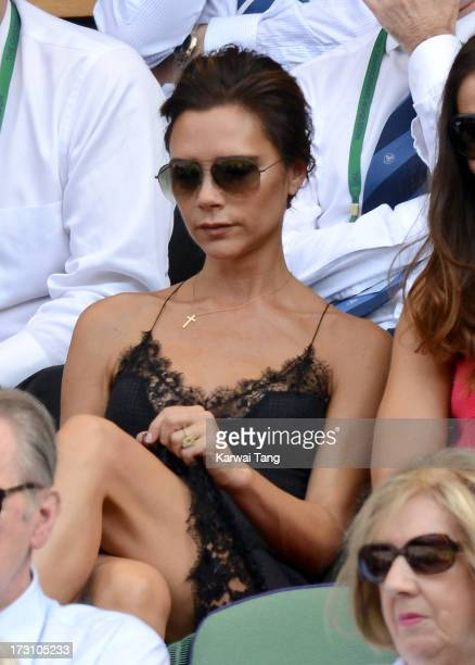 Victoria Beckham attends the Men's Singles Final between Novak Djokovic and Andy Murray on Day 13 of the Wimbledon Lawn Tennis Championships at the...
