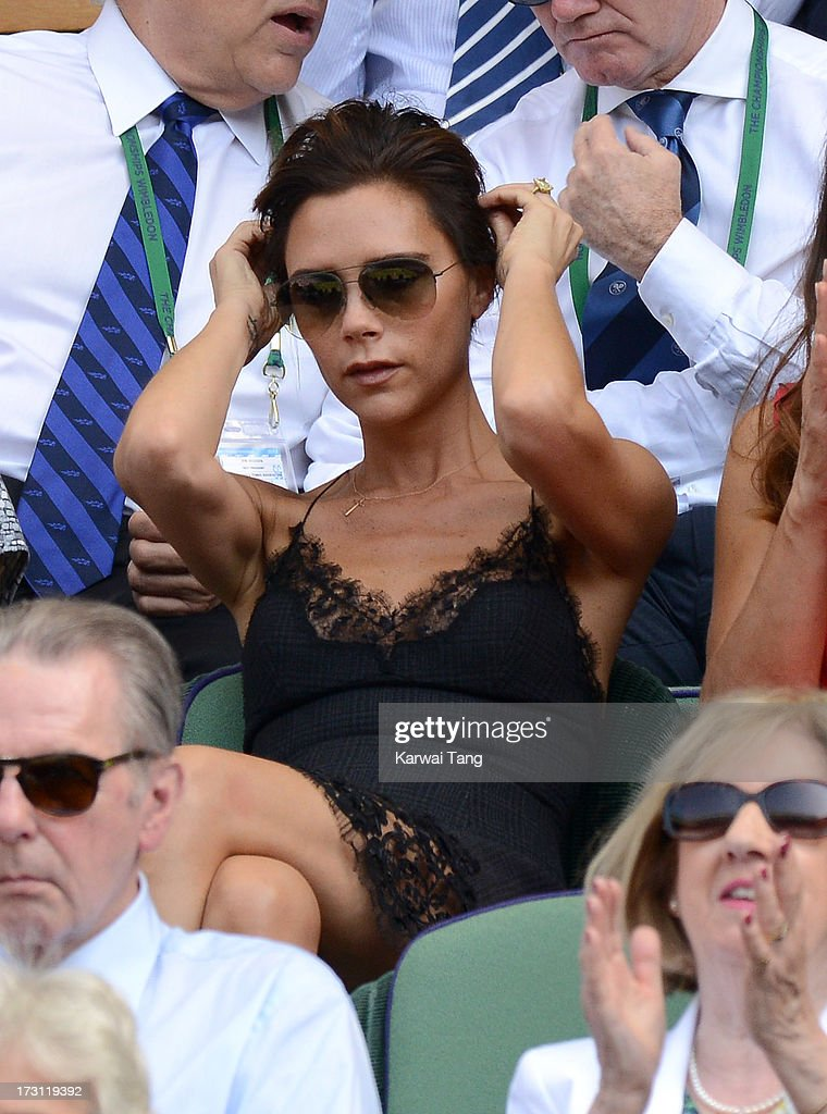 Victoria Beckham attends the Mens Singles Final on Day 13 of the Wimbledon Lawn Tennis Championships at the All England Lawn Tennis and Croquet Club on July 7, 2013 in London, England.
