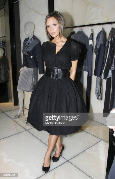 Victoria Beckham attends the opening party for the new Giorgio Armani Avenue Montaigne boutique January 23 2007 in Paris France