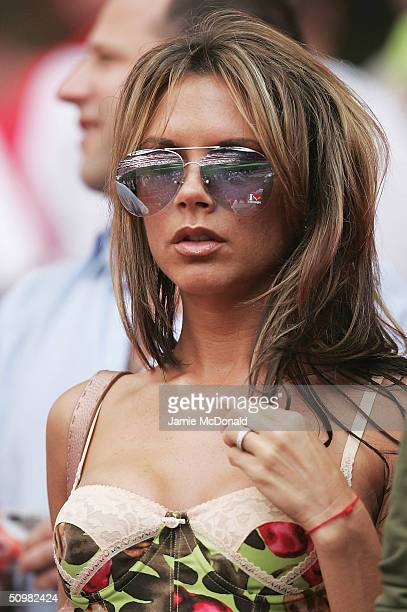 Victoria Beckham attends the UEFA Euro 2004 Group B match between Croatia and England at the Luz Stadium on June 21 2004 in Lisbon Portugal