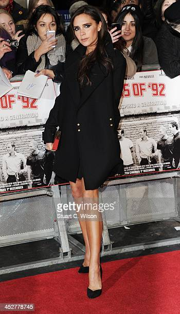 """Victoria Beckham attends the world premiere of """"The Class of 92"""" at Odeon West End on December 1, 2013 in London, England."""