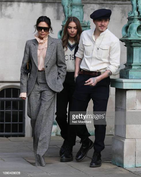 Victoria Beckham Brooklyn Beckham and Hana Cross attend Kent Curwen at Temple Place during LFWM January 2019 on January 06 2019 in London England