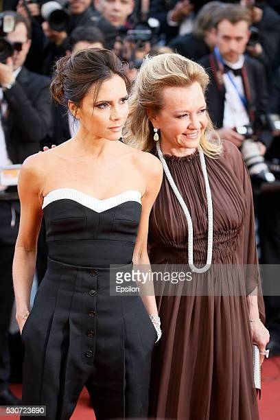 Victoria Beckham Caroline Scheufele attend the screening of 'Cafe Society' at the opening gala of the annual 69th Cannes Film Festival at Palais des...