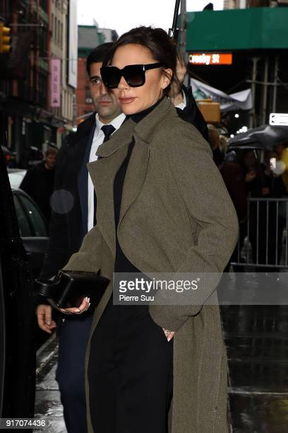 Victoria Beckham comes out of 'Balthazar' restaurant where the Beckham family had lunch after her show on February 11 2018 in New York City