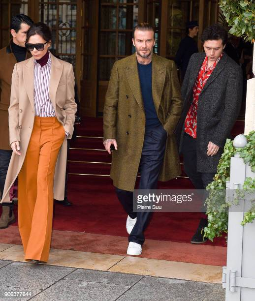 Victoria Beckham David Beckham and Brooklyn Beckham leave the Ritz hotel on January 18 2018 in Paris France
