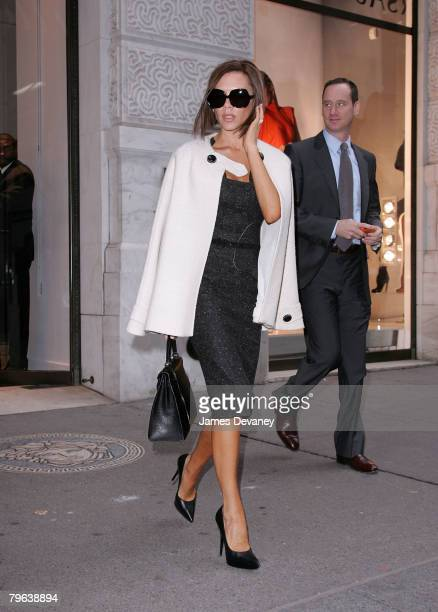 Victoria Beckham departs the Versace store on Madison Avenue in New York city on February 7 2008