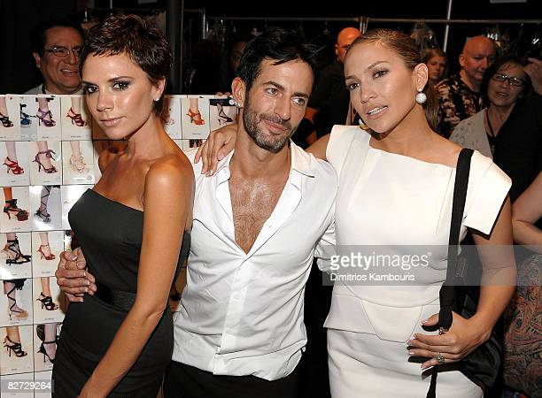 Victoria Beckham designer Marc Jacobs and actress Jennifer Lopez pose backstage prior to Marc Jacobs Spring '09 Fashion Show at Park Avenue Armory on...