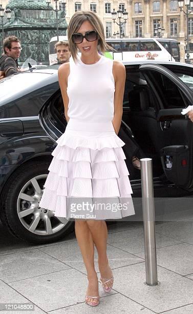 Victoria Beckham during Paris Fashion Week Spring/Summer 2007 Chanel Arrivals at Grand Palais in Paris France