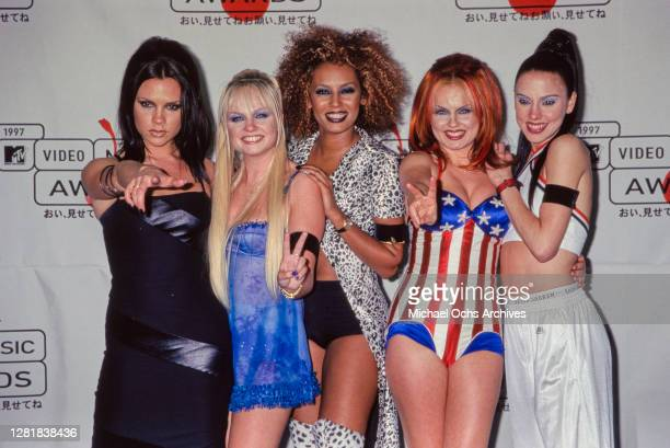 Victoria Beckham, Emma Bunton, Melanie Brown, Geri Halliwell, and Melanie Chisholm of the Spice Girls at the 14th Annual MTV Video Music Awards at...