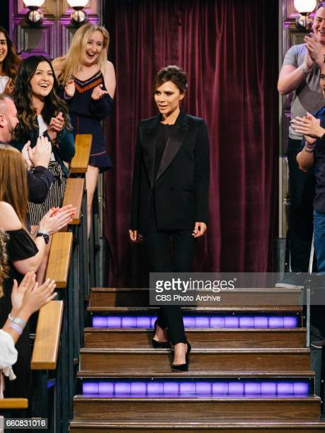 Victoria Beckham enters the studio during 'The Late Late Show with James Corden' Wednesday March 29 2017 On The CBS Television Network