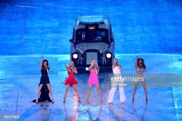 Victoria Beckham, Geri Halliwell, Emma Bunton, Melanie Brown and Melanie Chisholm of The Spice Girls perform during the Closing Ceremony on Day 16 of...