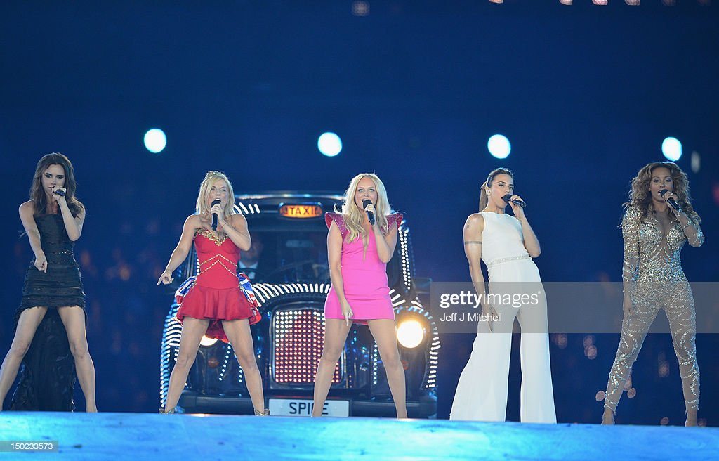 Victoria Beckham, Geri Halliwell, Emma Bunton, Melanie Chisholm and Melanie Brown of The Spice Girls perform during the Closing Ceremony on Day 16 of the London 2012 Olympic Games at Olympic Stadium on August 12, 2012 in London, England.