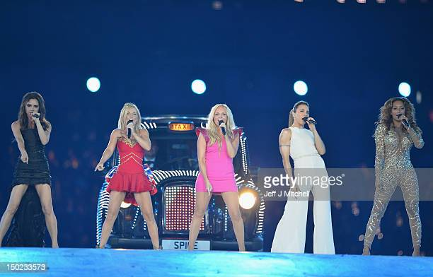 Victoria Beckham Geri Halliwell Emma Bunton Melanie Chisholm and Melanie Brown of The Spice Girls perform during the Closing Ceremony on Day 16 of...