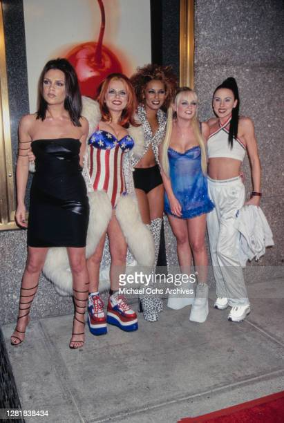 Victoria Beckham, Geri Halliwell, Melanie Brown, Emma Bunton, and Melanie Chisholm of the Spice Girls at the 14th Annual MTV Video Music Awards at...
