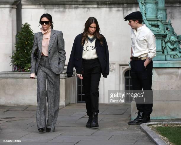 Victoria Beckham Hana Cross and Brooklyn Beckham seen attending Kent Curwen presentation during LFWM January 2019 on January 06 2019 in London England