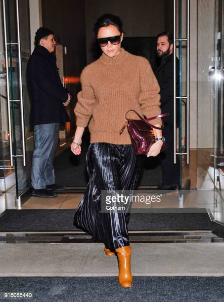 Victoria Beckham heads out of her hotel on February 6 2018 in New York City