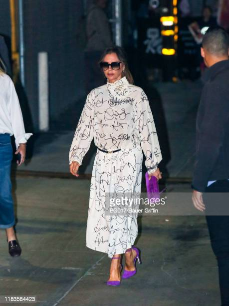 Victoria Beckham is seen arriving at the 'Jimmy Kimmel Live' on November 19, 2019 in Los Angeles, California.