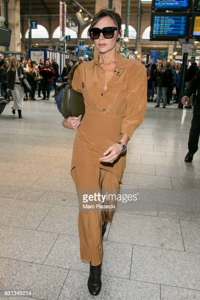 Victoria Beckham is seen at Gare du Nord station on March 13, 2018 in Paris, France.