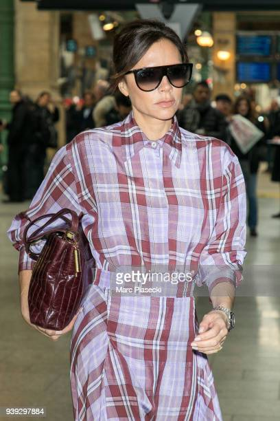 Victoria Beckham is seen at Gare du Nord station on March 28 2018 in Paris France