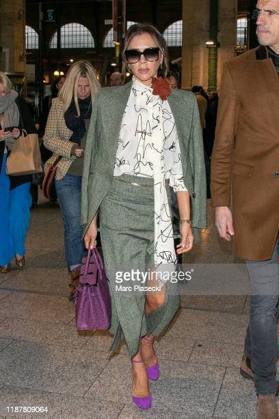 Victoria Beckham is seen at Gare du Nord station on November 15 2019 in Paris France