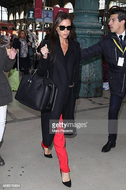 Victoria Beckham is seen at 'Gare du Nord' station on November 7 2014 in Paris France