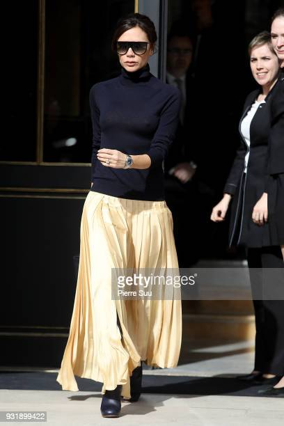 Victoria Beckham is seen leaving her Hotel on March 14 2018 in Paris France