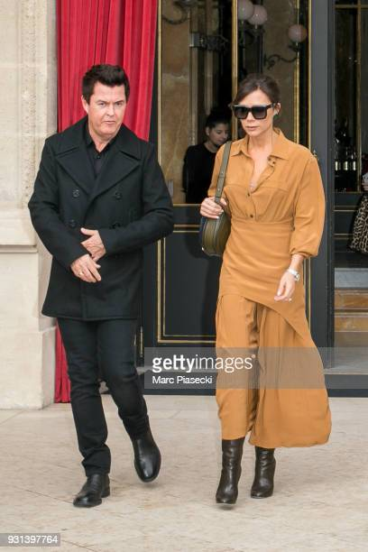 Victoria Beckham is seen leaving the 'La Reserve' restaurant with Simon Fuller on March 13 2018 in Paris France