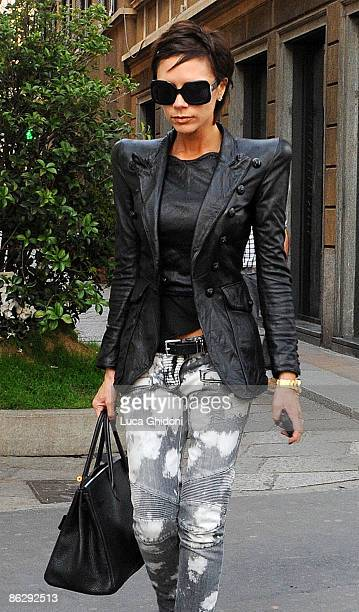 Victoria Beckham is seen shopping on April 7, 2009 in Milan, Italy.