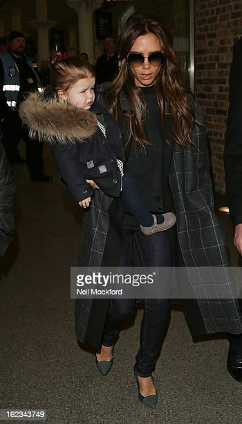 Victoria Beckham is seen with daughter Harper Beckham at Eurostar King's Cross St Pancras on February 22 2013 in London England